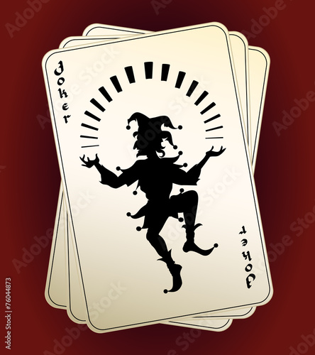 Joker silhouette on playing cards - 76044873