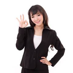 business woman showing ok hand sign
