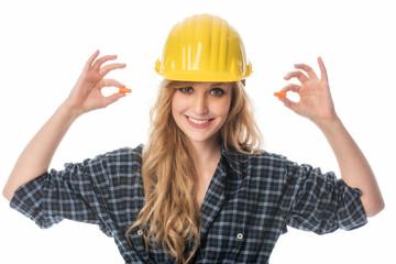 Handwerker mit Ohrenstöpsel