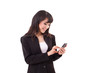 asian business woman texting, messaging, using smartphone