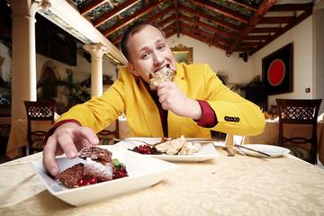 Man enjoying dinner