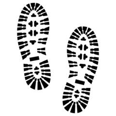 2 Schuhabdrücke mit Profil, Vektor, schwarz, freigestellt