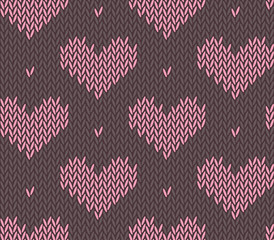 Seamless knitting pattern with hearts
