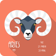 Zodiac sign Aries icon flat design