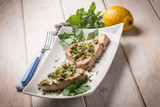 grilled tuna with caper and lemon peel
