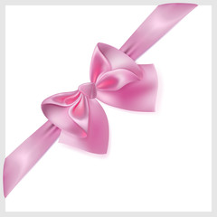 Pink bow with ribbon, located diagonally