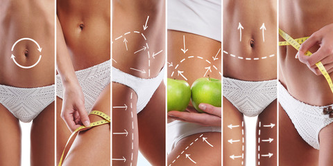 Diet, sport and healthy eating collage with sexy women