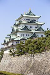 agoya Castle in Japan during cherry blossom season in spring.
