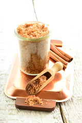 Body scrub - brown sugar with cinnamon.