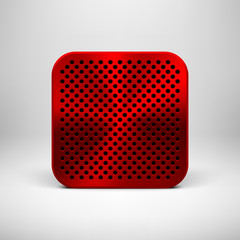 Red Abstract App Icon Button Template with Metal Texture