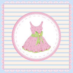 vintage label with pink dress decorated with  green bow