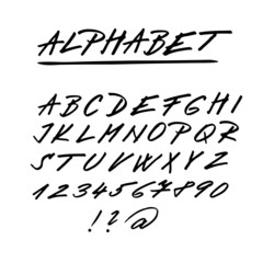Hand drawn vector alphabet, font, upper case letters, numbers