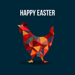 Modern easter card with polygon hen silhouette, vector