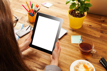 Woman working with tablet