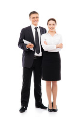 Couple of business people isolated on white