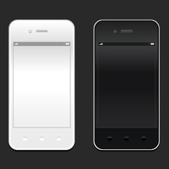 White and black smartphone realistic mockup. Model phone