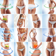 Fit female bodies. Dieting, sport and healthy eating collage.