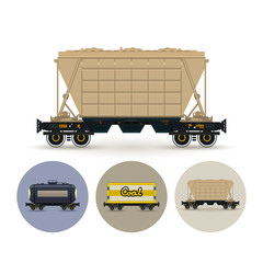 Set of icons of different types of freight cars