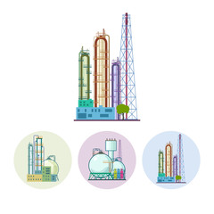 Set icons of a chemical plant or refinery processing