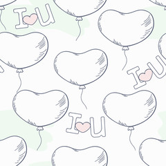 Doodle seamless pattern with heart balloons and letters