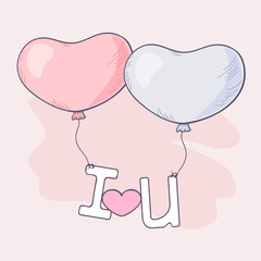 Hand drawn heart balloons holding letters
