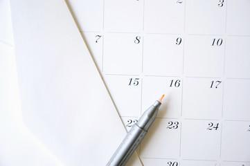 color pen on calendar