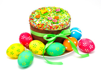 Decorated easter cake and eggs isolated