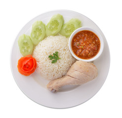 Steam Chicken with Rice on white background