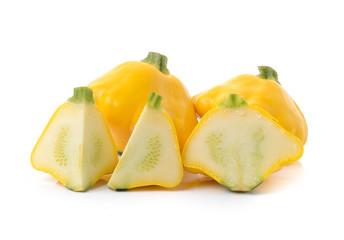 yellow zucchini on white background