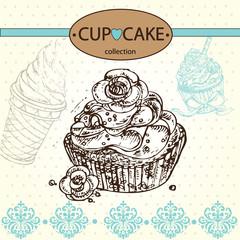 Hand drawn sketch illustration cake and cupcake