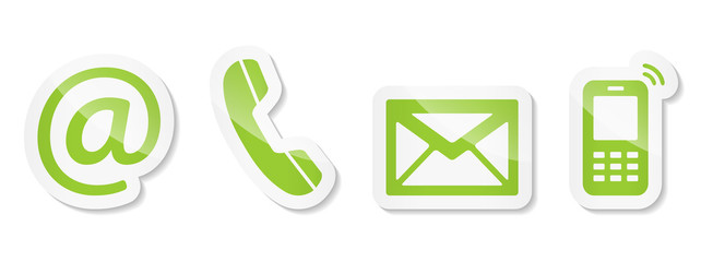 Contact Us – Light green sticker icons
