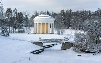 Winter park with rotunda and bridge