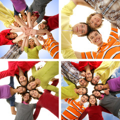 Group of smiling happy teenagers holding hand together
