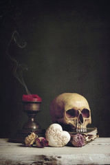Vanitas with Skull, Book, Candle and Heart