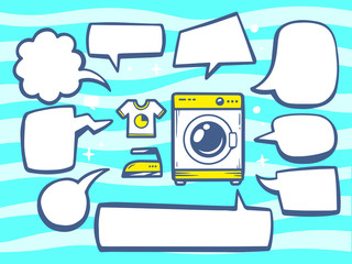 Vector illustration of washing machine with speech comics bubble