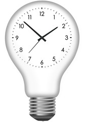 Wall clock in the light bulb