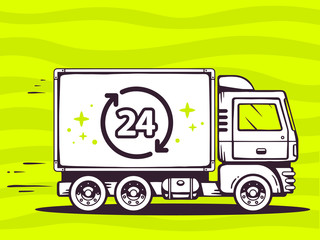 Vector illustration of truck free and fast delivering 24 hours t
