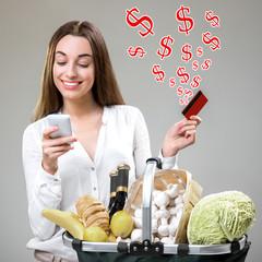 Buying online food concept