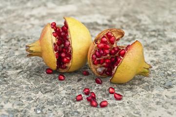 two ripe pomegranates