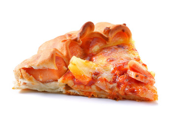 Slice of pizza on white background