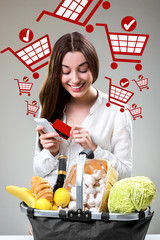 Buying online food concept