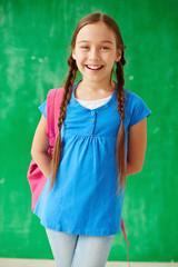 Schoolgirl with rucksack