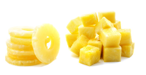 Canned pineapple isolated on white