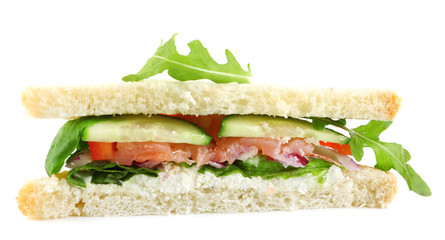 Club sandwich with salmon  and vegetables isolated on white