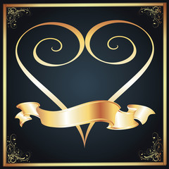 Gold Heart & Ribbon Over a Dark Gradient Background