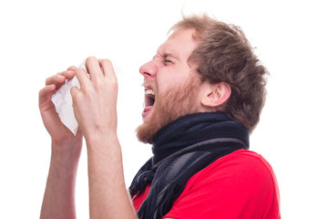 Sick man sneeze into handkerchief