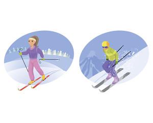 Skier and mountain-skier