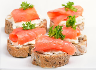 Fresh salmon snack with curd