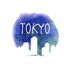 Watercolor design with Tokyo icon
