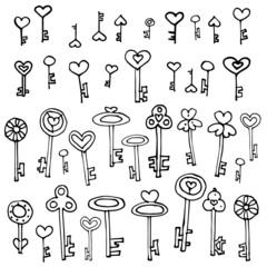 Keys of hearts hand-drawing set